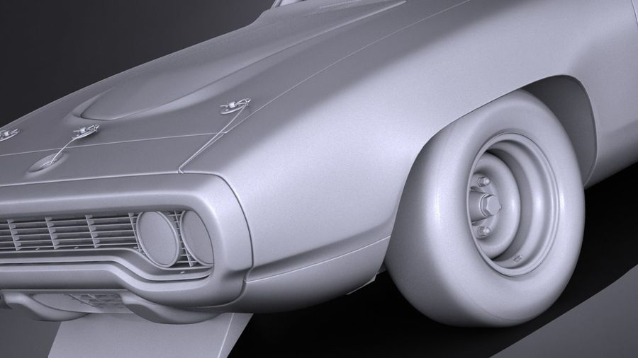 Plymouth Roadrunner NASCAR Ричард Петти 1971 royalty-free 3d model - Preview no. 13