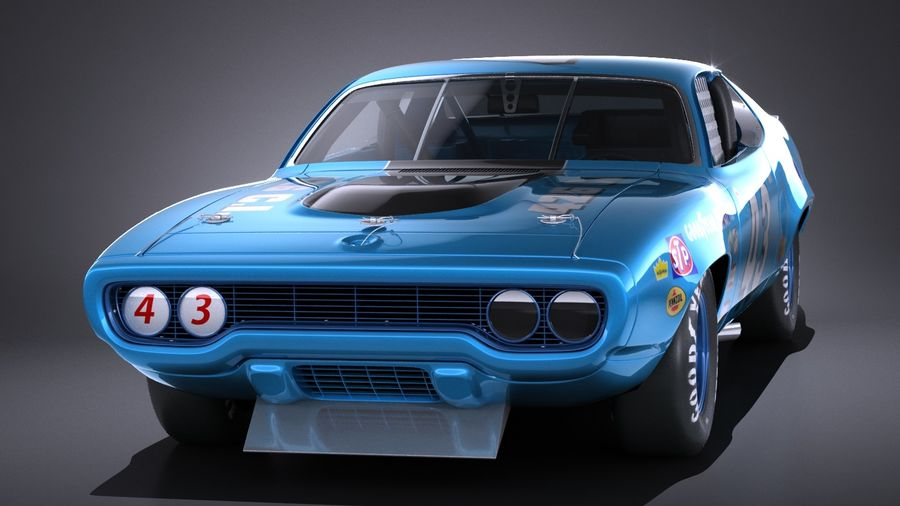 Plymouth Roadrunner NASCAR Ричард Петти 1971 royalty-free 3d model - Preview no. 2
