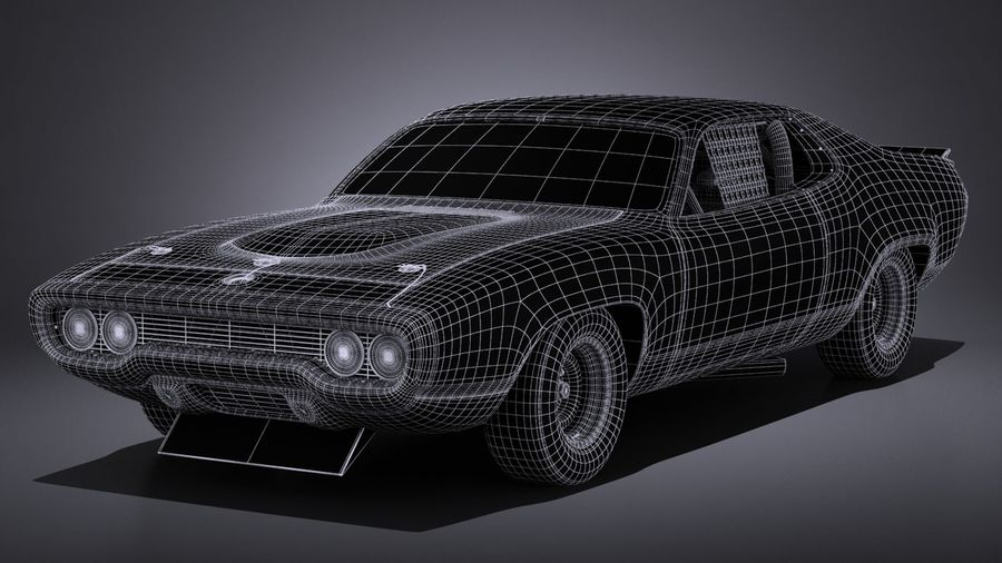Plymouth Roadrunner NASCAR Ричард Петти 1971 royalty-free 3d model - Preview no. 18