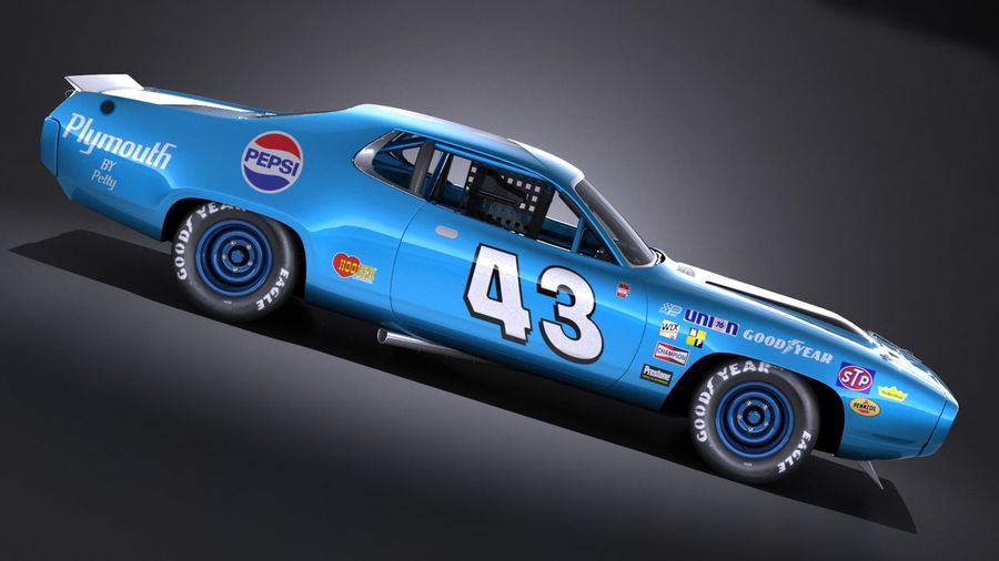 Plymouth Roadrunner NASCAR Ричард Петти 1971 royalty-free 3d model - Preview no. 7