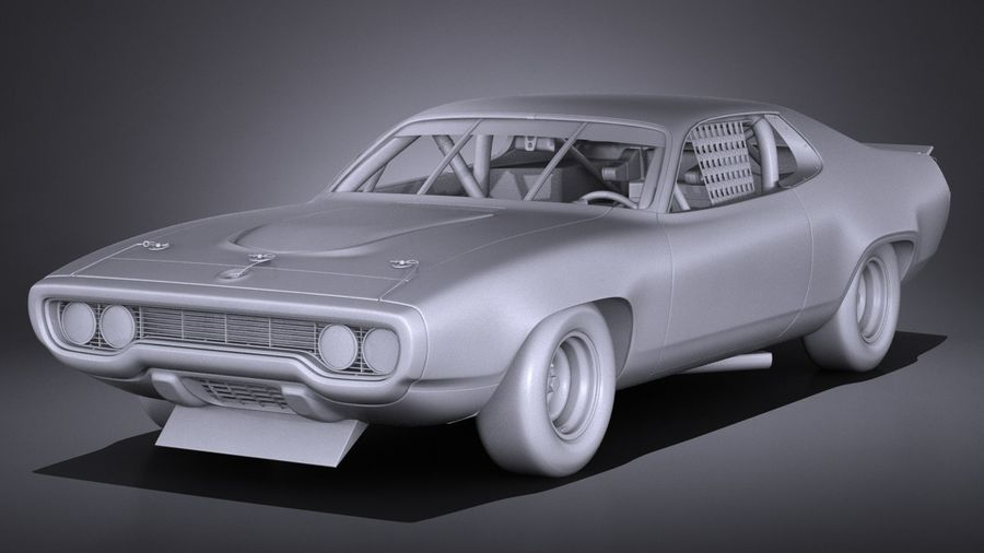 Plymouth Roadrunner NASCAR Ричард Петти 1971 royalty-free 3d model - Preview no. 12