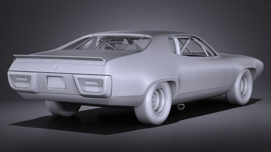 Plymouth Roadrunner NASCAR Ричард Петти 1971 royalty-free 3d model - Preview no. 15
