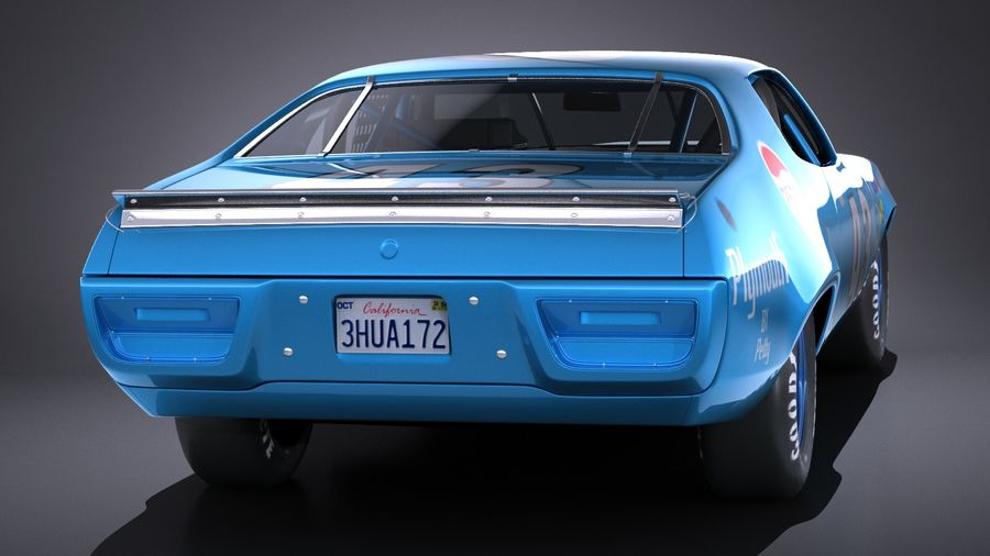 Plymouth Roadrunner NASCAR Ричард Петти 1971 royalty-free 3d model - Preview no. 5