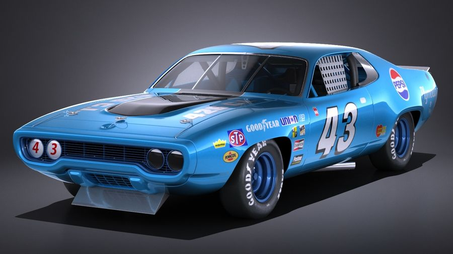 Plymouth Roadrunner NASCAR Ричард Петти 1971 royalty-free 3d model - Preview no. 1