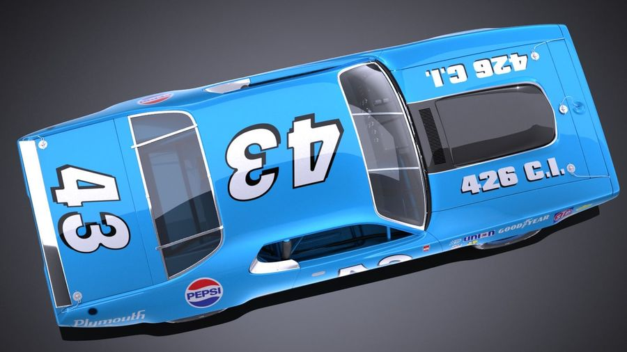 Plymouth Roadrunner NASCAR Ричард Петти 1971 royalty-free 3d model - Preview no. 8