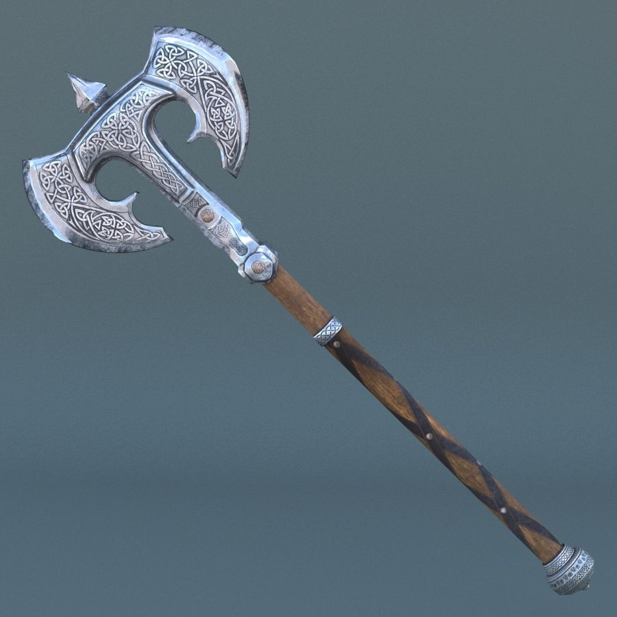 battle-axe royalty-free 3d model - Preview no. 2