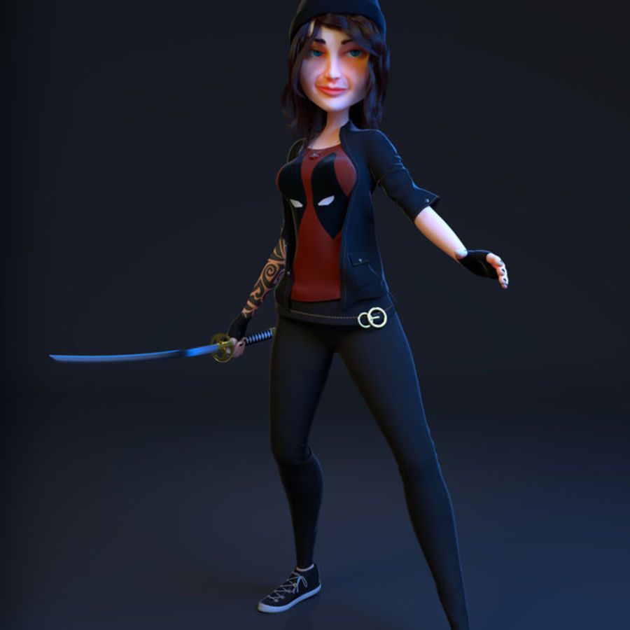 Mari the Samurai royalty-free 3d model - Preview no. 1