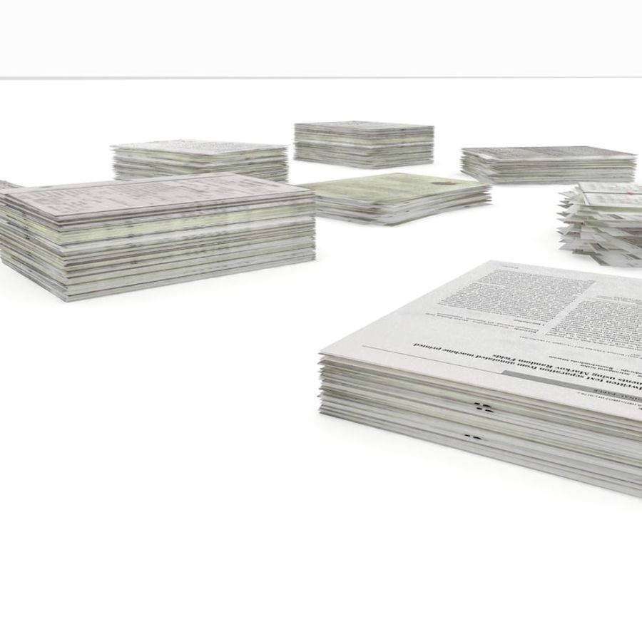 Simple office Document Stack royalty-free 3d model - Preview no. 9