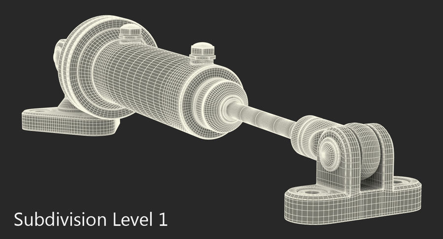 Anodowany cylinder hydrauliczny 2 royalty-free 3d model - Preview no. 12