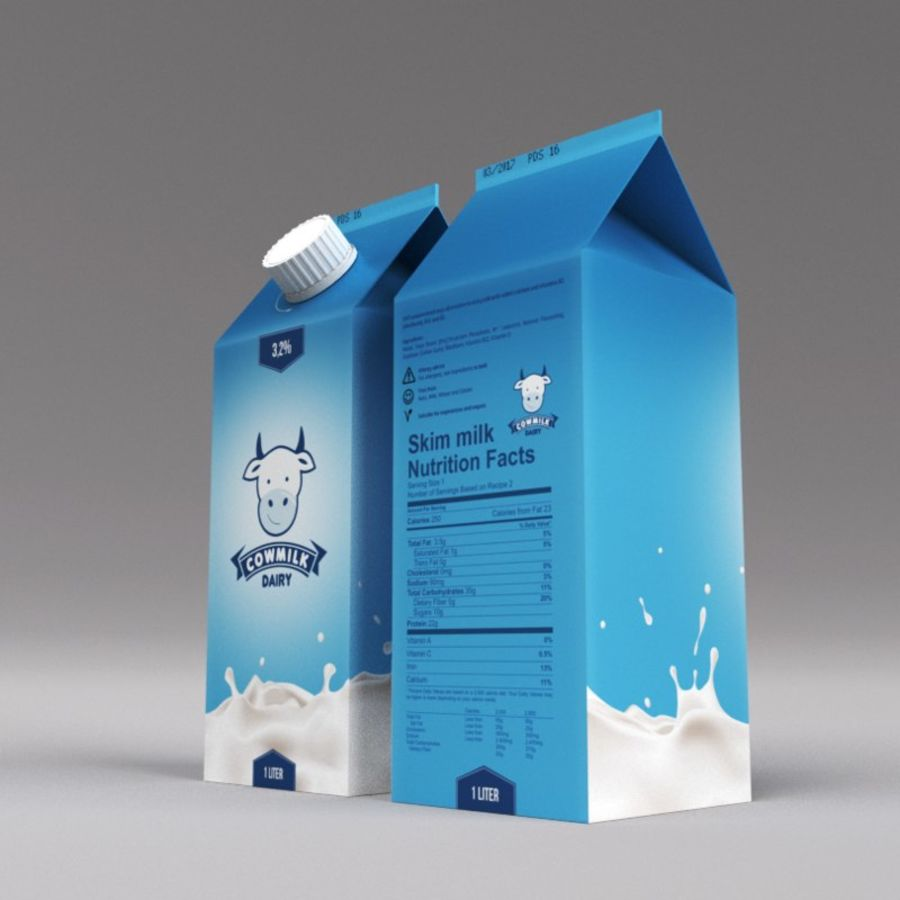 Milk Carton royalty-free 3d model - Preview no. 2