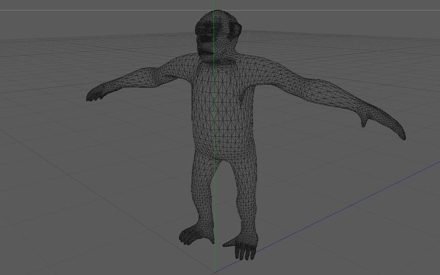 Chimpanzee royalty-free 3d model - Preview no. 3