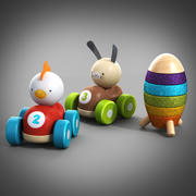 Wooden toy cars 3d model