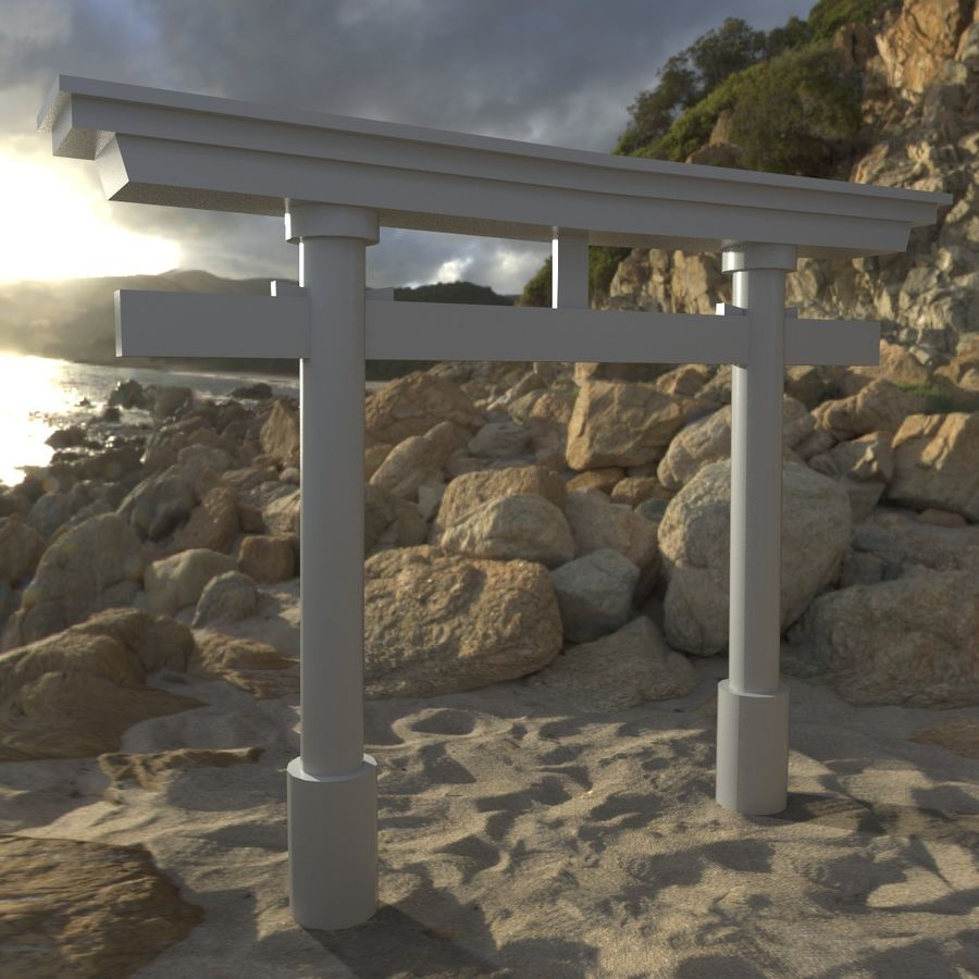 Torii Gate 001 No Texture royalty-free 3d model - Preview no. 2