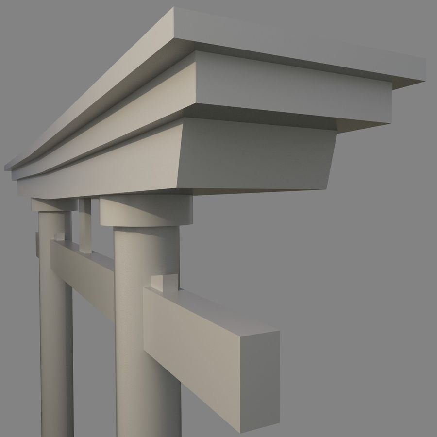 Torii Gate 001 No Texture royalty-free 3d model - Preview no. 6