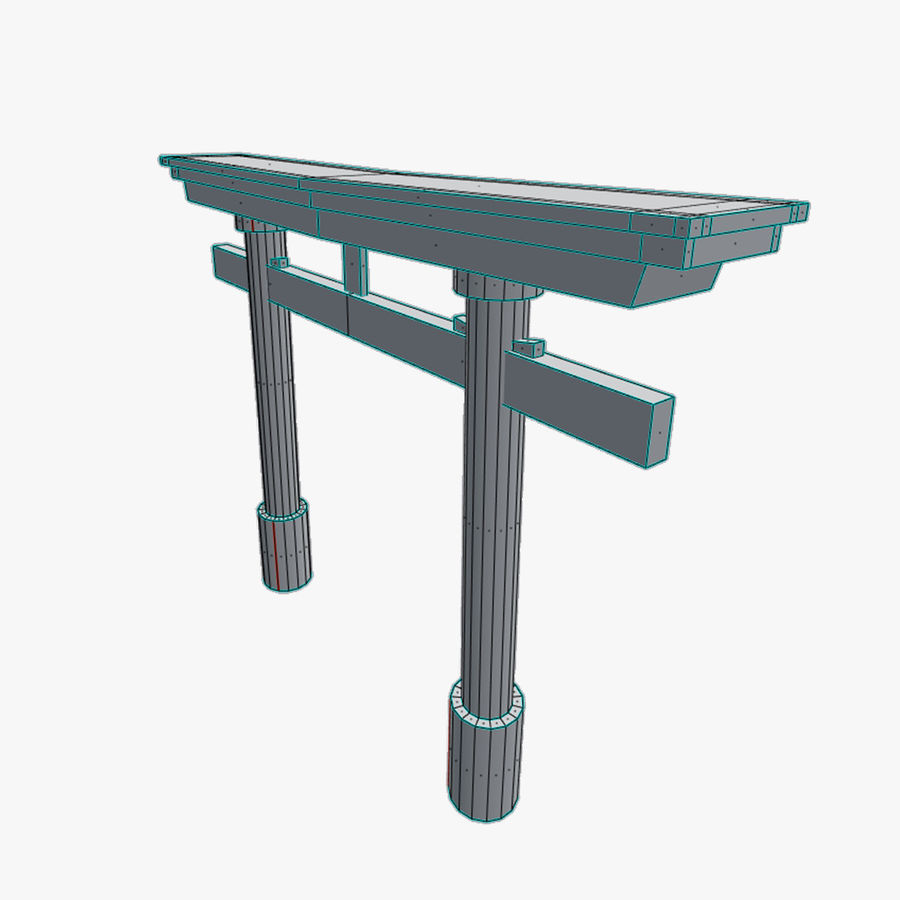 Torii Gate 001 No Texture royalty-free 3d model - Preview no. 7