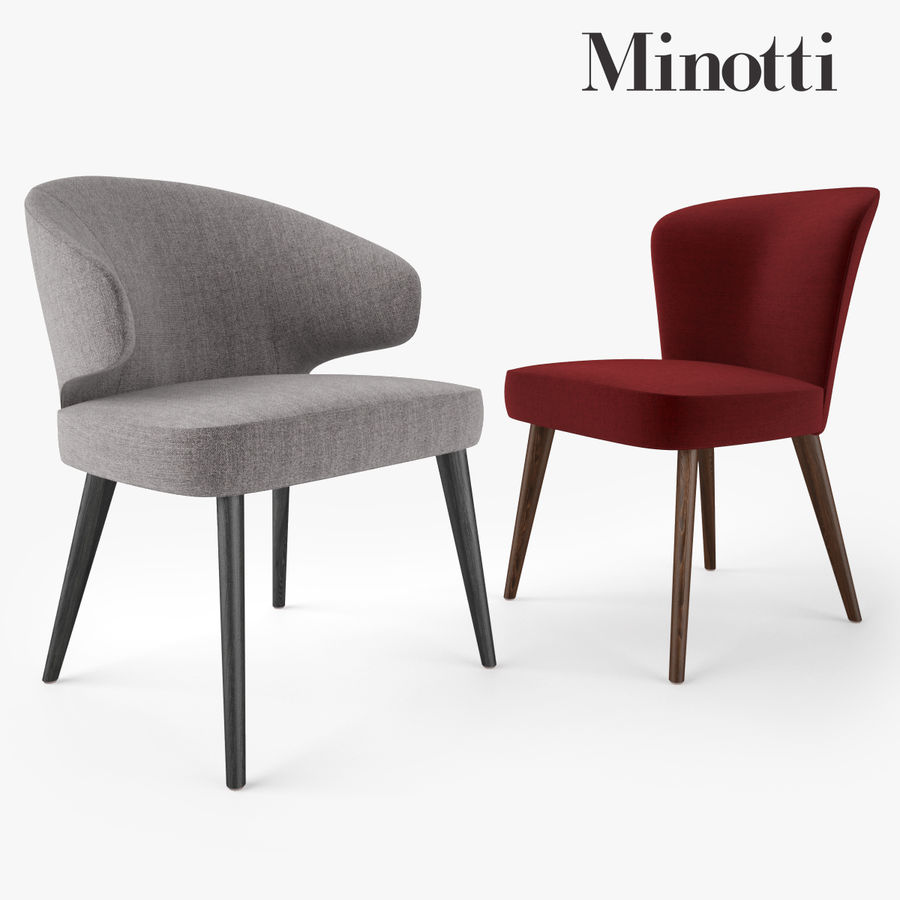 Minotti Aston Dining Chair And Armchair Royalty Free 3d Model   Preview No.  1