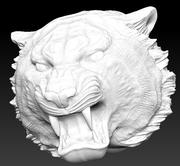 Tiger angry head 3d model
