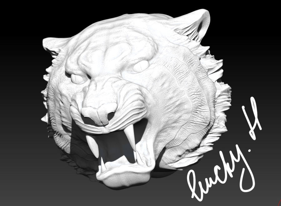 Tiger angry head royalty-free 3d model - Preview no. 2