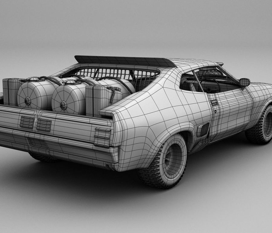 Mad Max Interceptor royalty-free 3d model - Preview no. 7