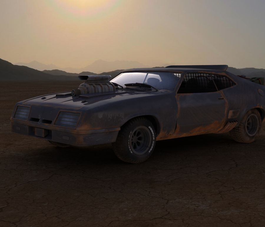 Mad Max Interceptor royalty-free 3d model - Preview no. 3