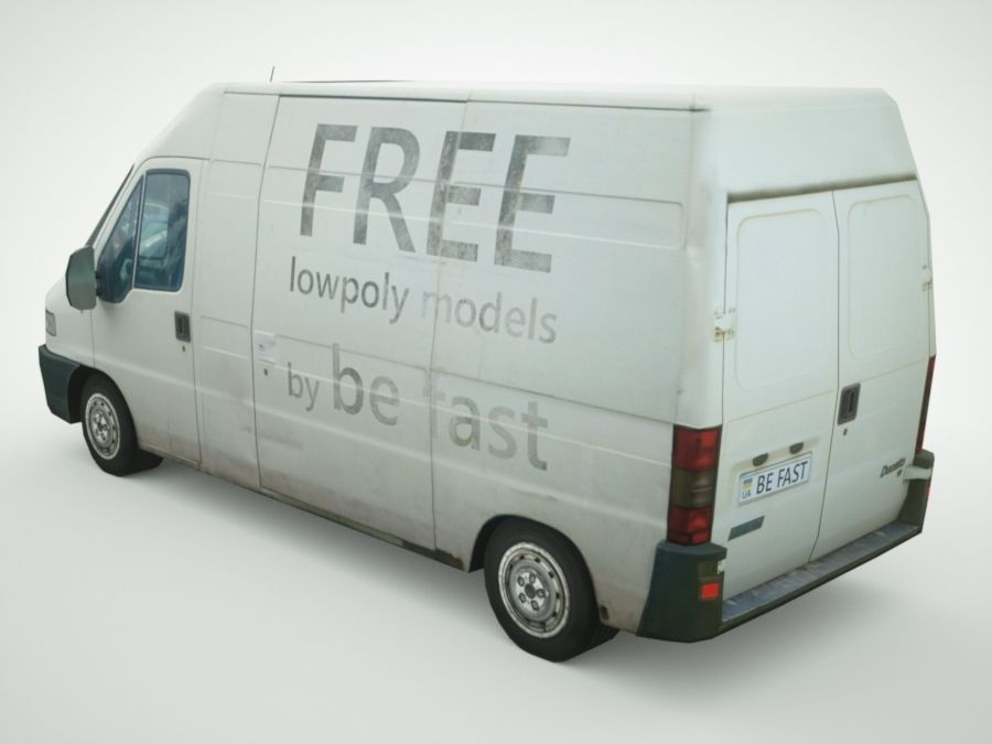 Fiat Ducato 1999 royalty-free 3d model - Preview no. 2