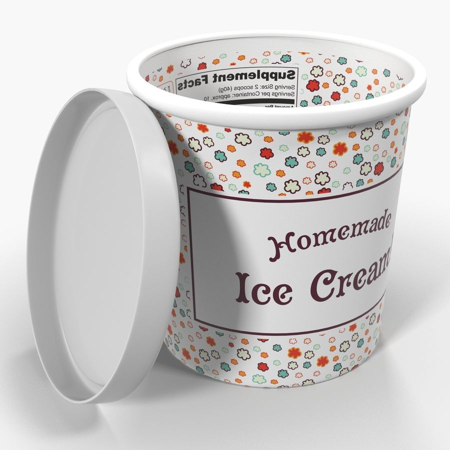 Ice Cream Pint Container royalty-free 3d model - Preview no. 3