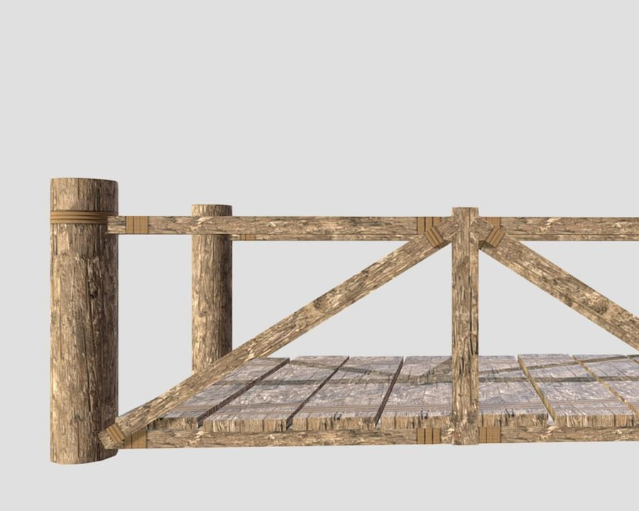 Wooden modular bridge lowpoly royalty-free 3d model - Preview no. 4