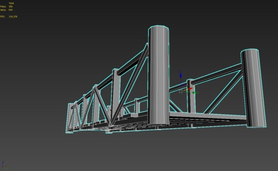 Wooden modular bridge lowpoly royalty-free 3d model - Preview no. 6