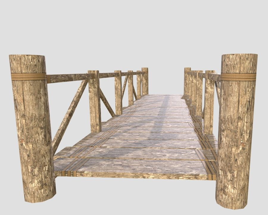 Wooden modular bridge lowpoly royalty-free 3d model - Preview no. 2