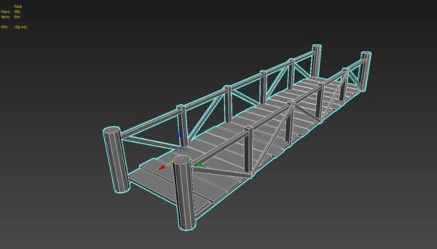 Wooden modular bridge lowpoly royalty-free 3d model - Preview no. 7