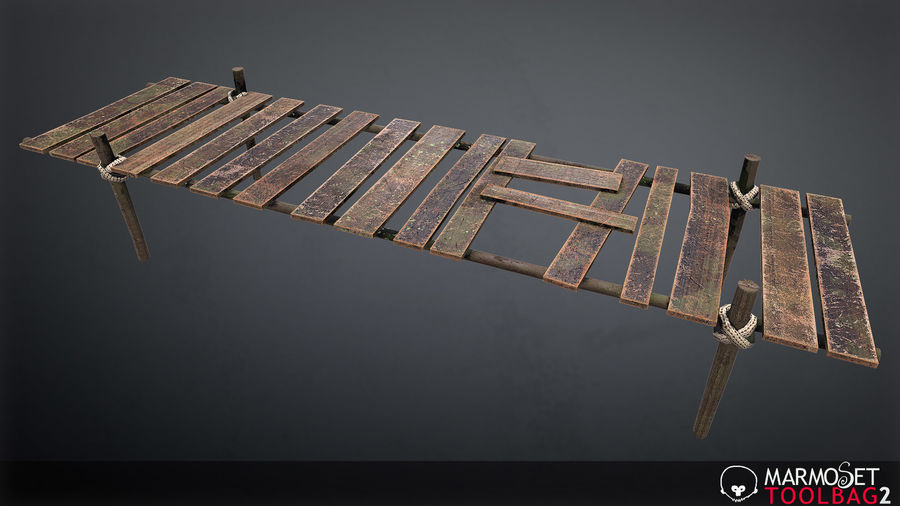 Wooden Pier PBR Game Ready royalty-free 3d model - Preview no. 5