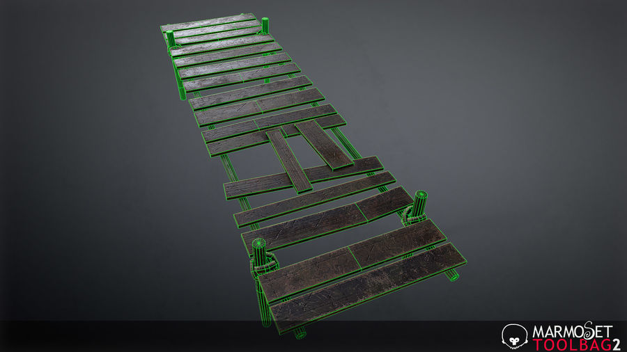 Wooden Pier PBR Game Ready royalty-free 3d model - Preview no. 7
