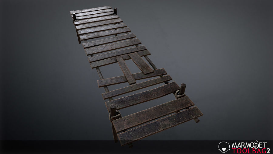Wooden Pier PBR Game Ready royalty-free 3d model - Preview no. 6