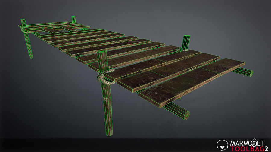 Wooden Pier PBR Game Ready royalty-free 3d model - Preview no. 8