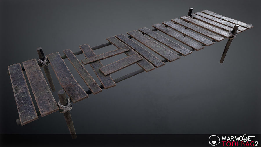 Wooden Pier PBR Game Ready royalty-free 3d model - Preview no. 3