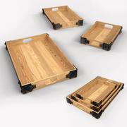 Rustic Wooden Tray 3d model