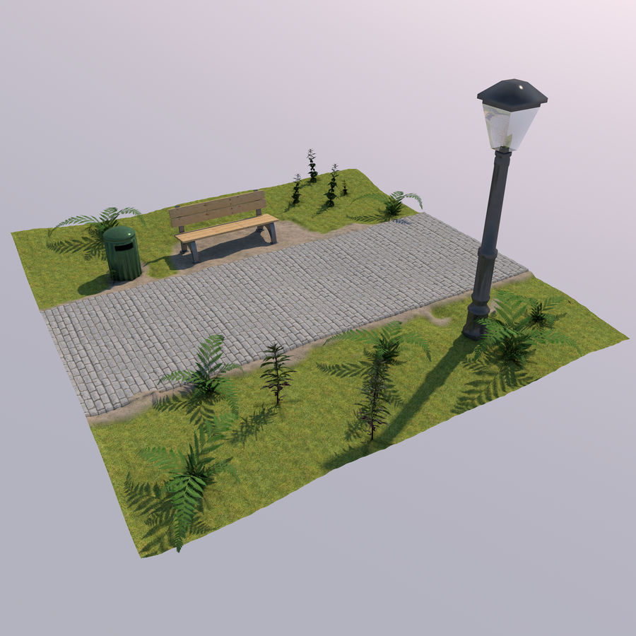 park scene royalty-free 3d model - Preview no. 2
