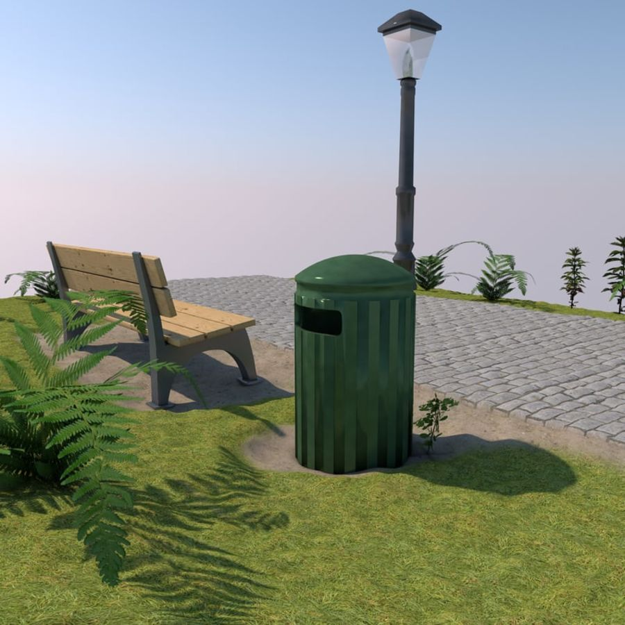 park scene royalty-free 3d model - Preview no. 1