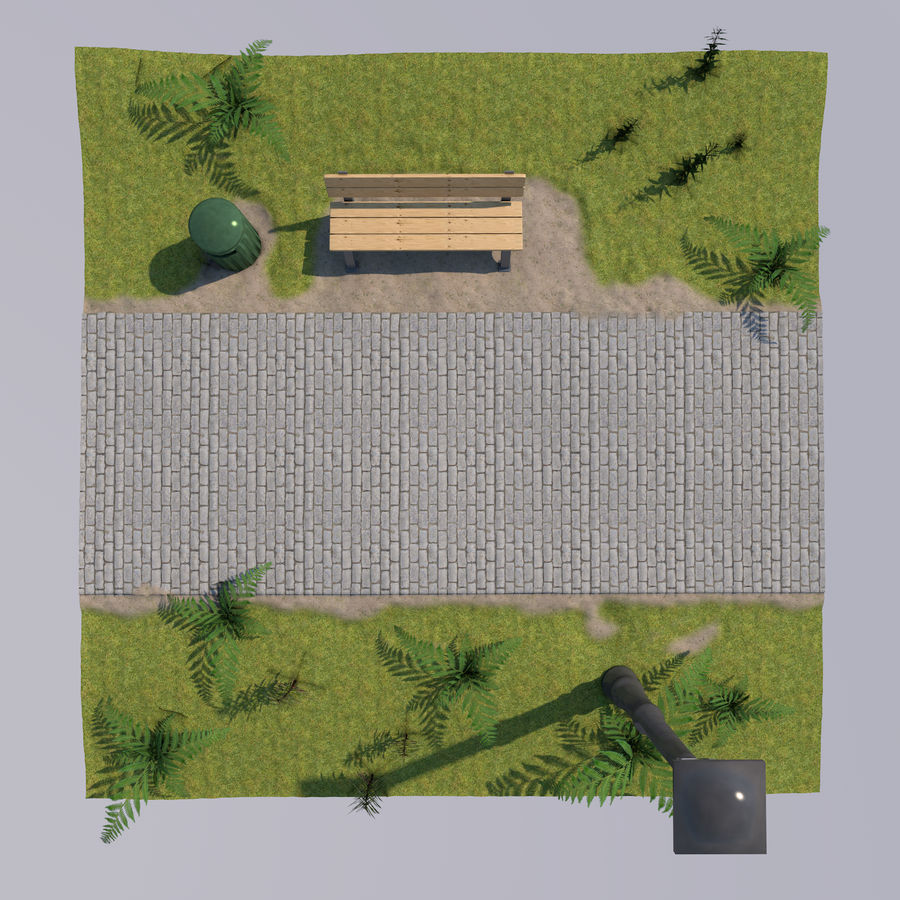 park scene royalty-free 3d model - Preview no. 3