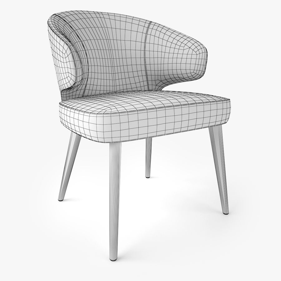 Minotti Aston Dining Armchair royalty-free 3d model - Preview no. 6