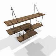 Designer wooden wall shelf 3d model