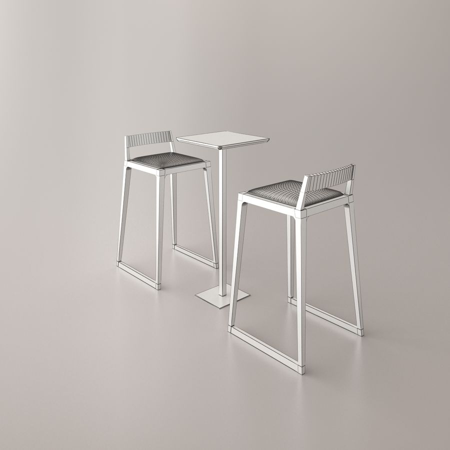 Bar stoel en tafel royalty-free 3d model - Preview no. 2