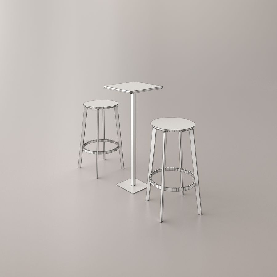 Bar cadeira e mesa royalty-free 3d model - Preview no. 4