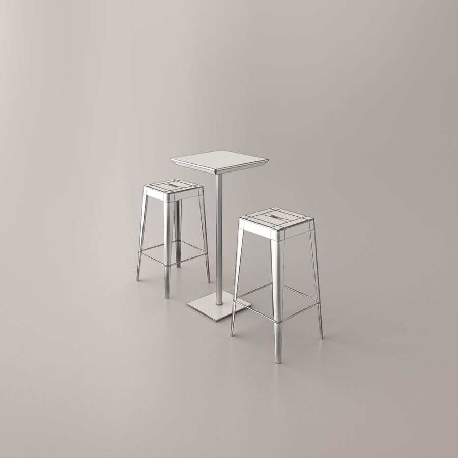 Bar stoel en tafel royalty-free 3d model - Preview no. 6