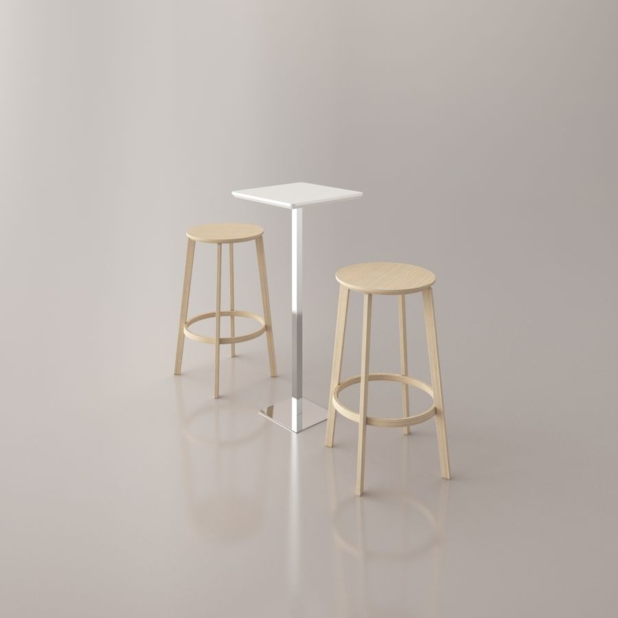 Bar stoel en tafel royalty-free 3d model - Preview no. 5