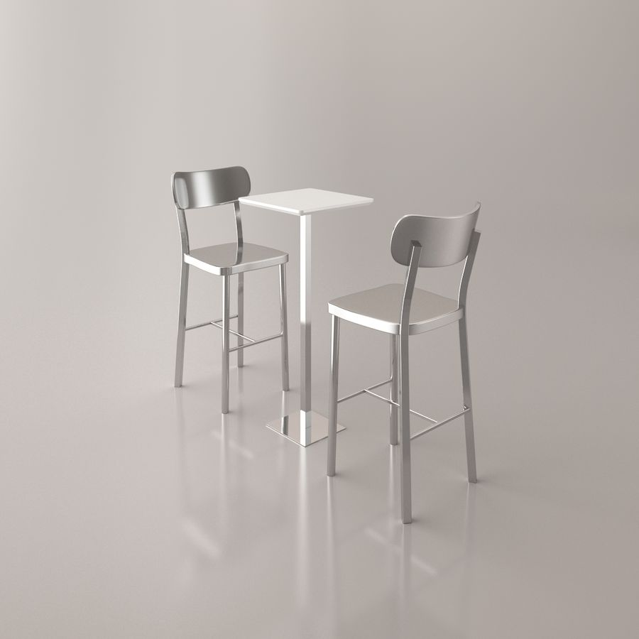Bar stoel en tafel royalty-free 3d model - Preview no. 9