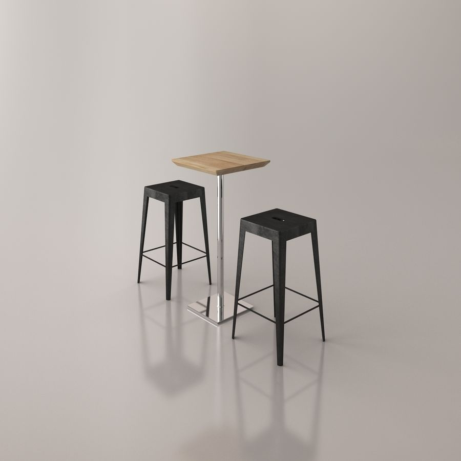 Bar stoel en tafel royalty-free 3d model - Preview no. 7