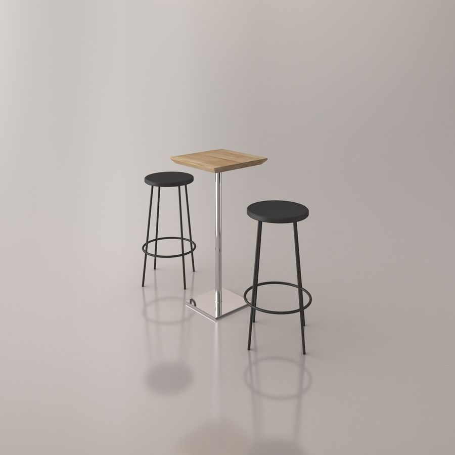 Bar cadeira e mesa royalty-free 3d model - Preview no. 11