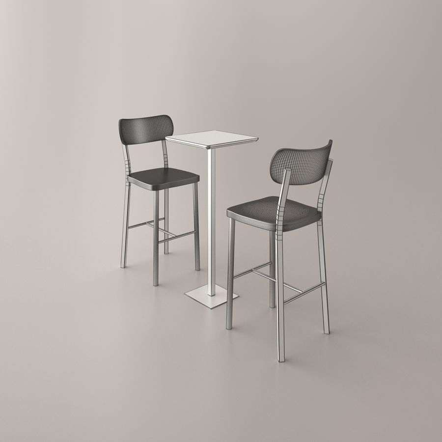 Bar stoel en tafel royalty-free 3d model - Preview no. 8