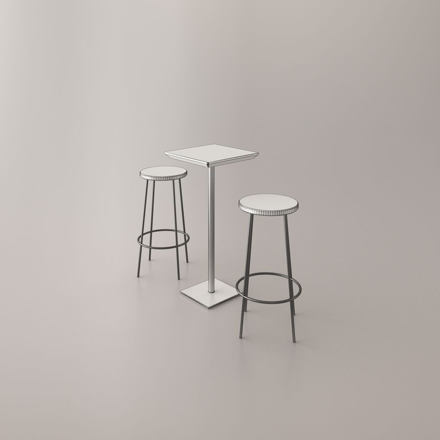 Bar stoel en tafel royalty-free 3d model - Preview no. 10